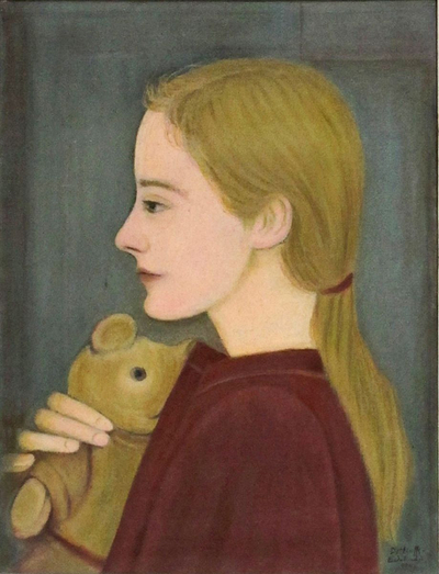 152044, Portrait of Ursula at the age of eleven and half years, oil on canvas, 1945