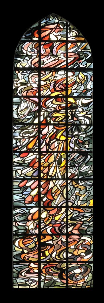 Pentecost stained glass Nikolai Kirche Isny