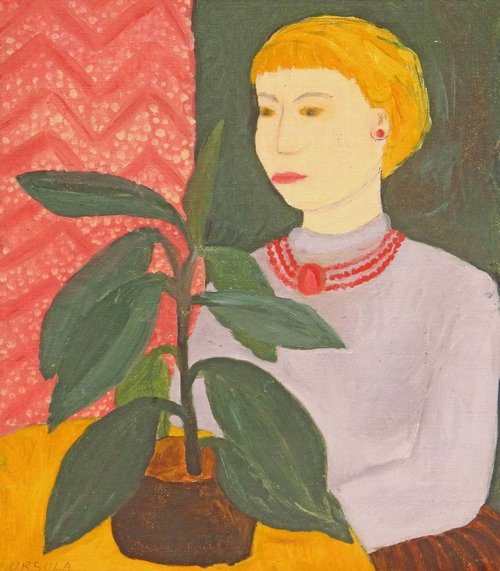 Portrait U. Ebell with rubber tree